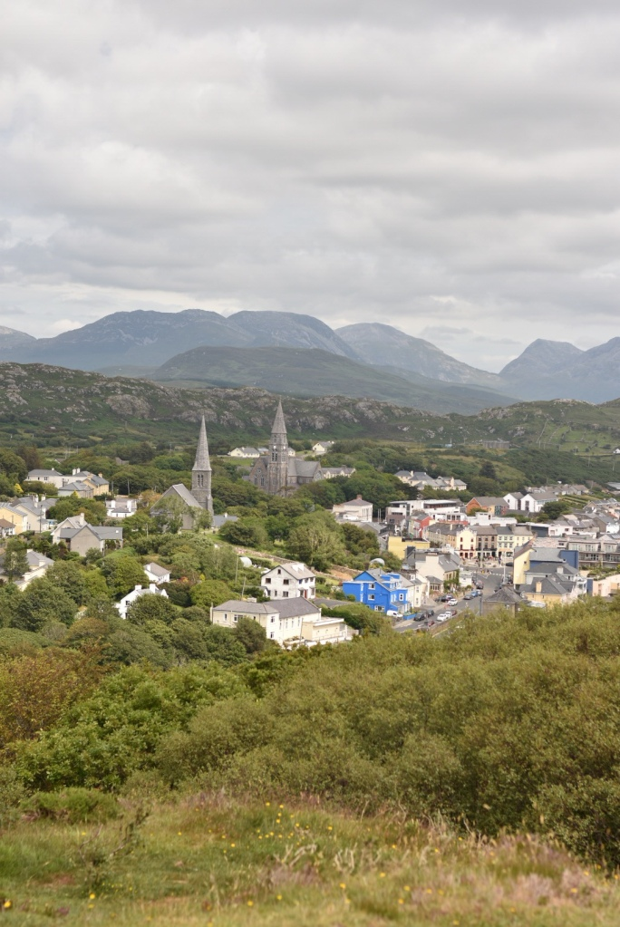 A panoramic view of Clifden town from the John D'Arcy Monument