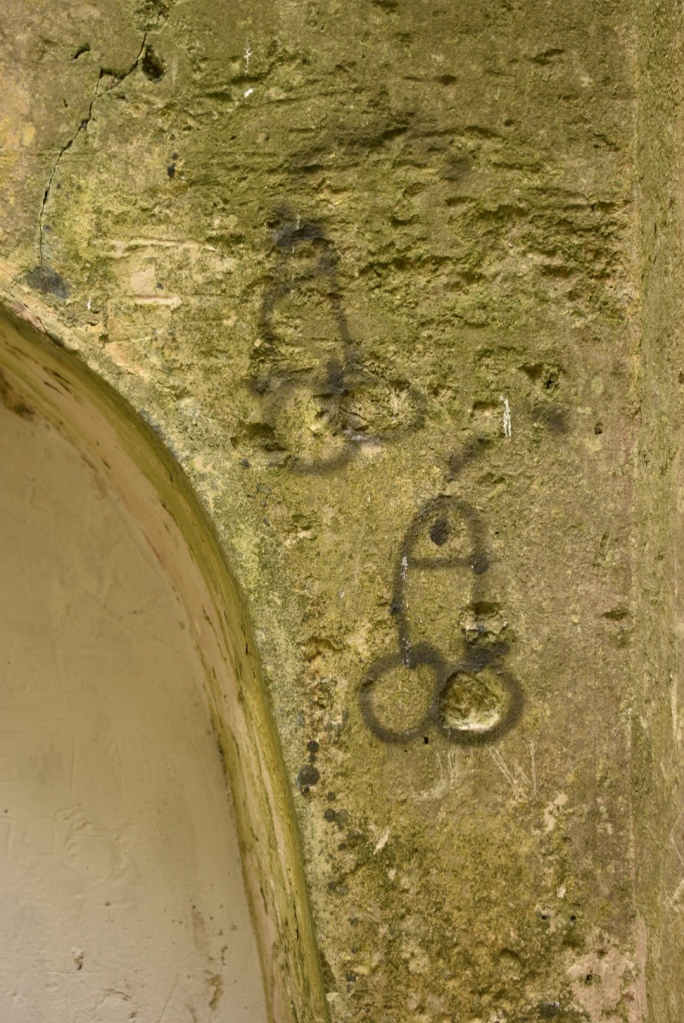 Graffiti on the walls inside Clifden Castle